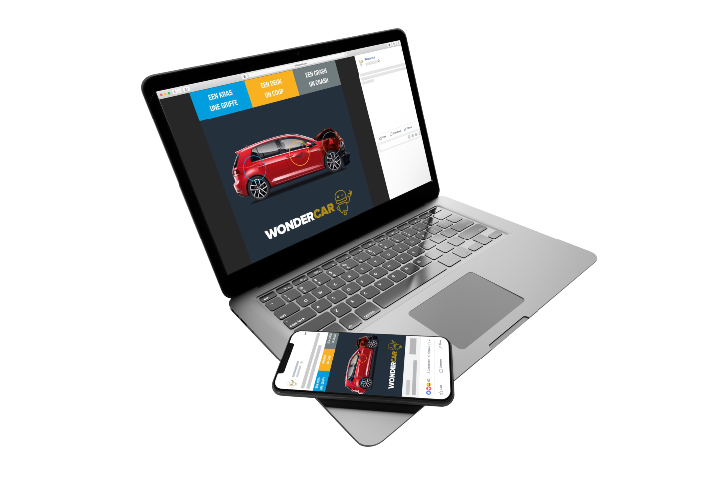 Mockup campaign wondercar case the crew agency Brussels